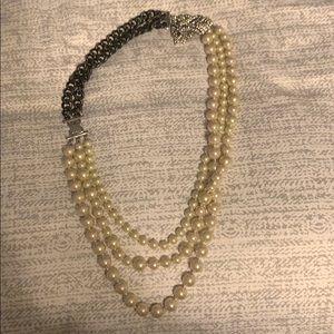 Stella & Dot Pearl and Link Chain Necklace